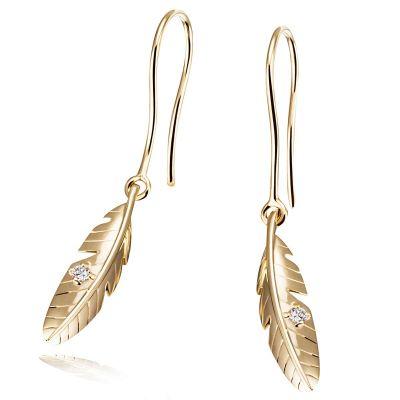 Paar Ohrhänger 585 Gelbgold Ohrringe 2 Brillanten zus. 0,04 ct.