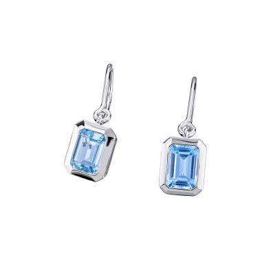 Paar Ohrhänger 925 Sterlingsilber 2 hellblaue Topas Edelsteine zus. 2,42 ct.