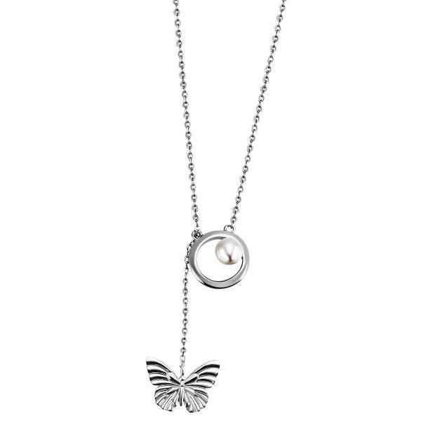 Collier Halskette Schmetterling Zuchtperle 925 Sterlingsilber Ankerkette