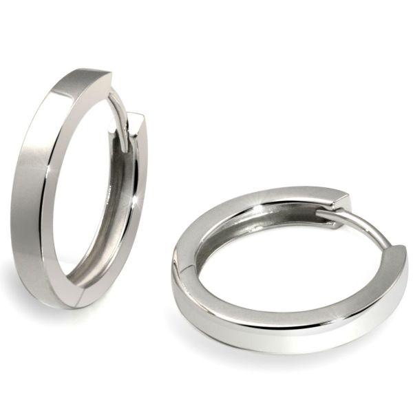 Paar Creolen 925 Sterlingsilber Unisex Ohrringe hochglanzpoliert