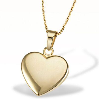 Collier Halskette Anhänger Herz 375 Gelbgold Ankerkette hochglanz