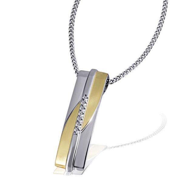 Collier Halskette Classiness 925 Sterlingsilber Bicolor 7 Zirkonia