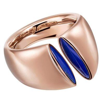 Damen Ring Kleopatra 750 Rotgold mit 2 echten Lapis Lazuli Edelsteinen Größe 56