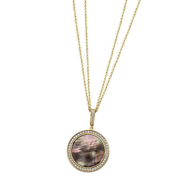 Collier 925 Sterlingsilber gelb vergoldet Perlmutt 55 Zirkonia Doppelanker Halskette