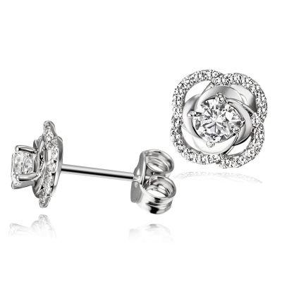 Paar Ohrstecker 925 Sterlingsilber Ohrringe Rose 50 weiße Zirkonia