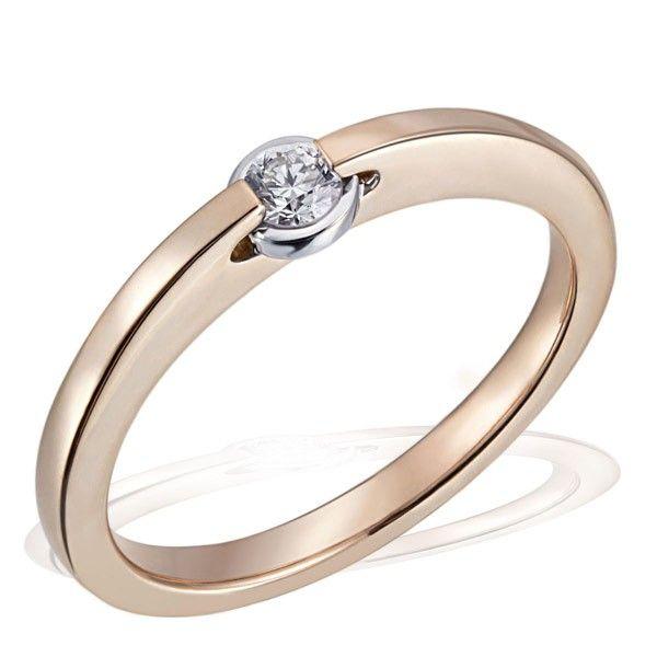 Damenring Solitär Verlobungsring 585 Rotgold 1 Brillant 0,15 ct. SI1/H