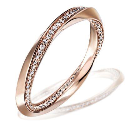 Damenring Twister 375 Rotgold mit 105 Diamanten 0,40 ct.