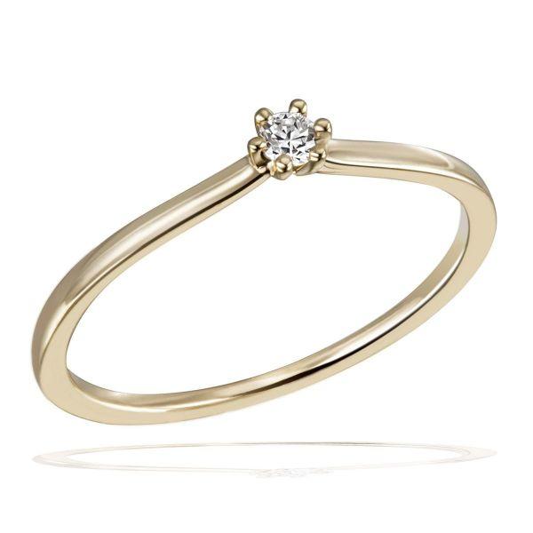 Laura Ring 585/- Gelbgold 1 Brillant 0,05/ 0,10/ 0,15 ct. VS/G
