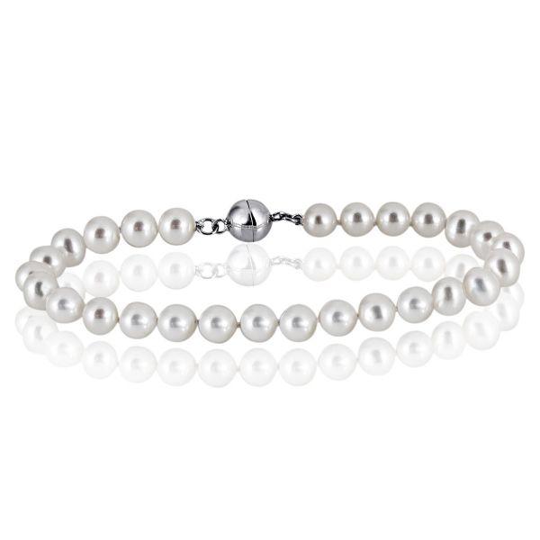 Armband 925 Sterlingsilber 27 Süßwasserperlen 19 cm Magnetverschluss