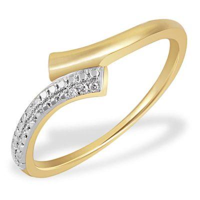 Damenring Bicolor 585 Gelbgold 3 Diamanten zus. 0,01 ct. SI1/H