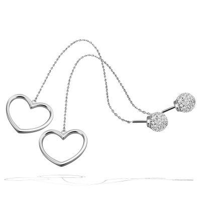 Paar Ohrringe Durchzieher Herz 925 Sterlingsilber poliert 80 weiße Zirkonia