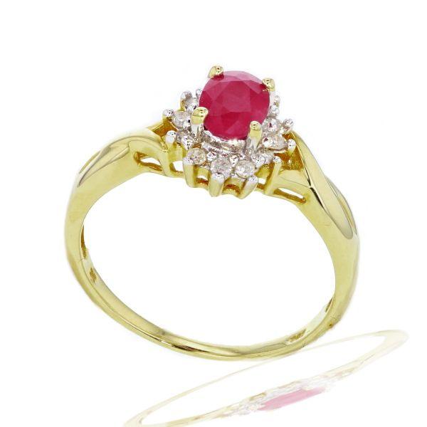 Damenring 585/- Gelbgold 1 Rubin 12 Diamanten zus. 0,15 ct. - Grösse wählbar 56-62