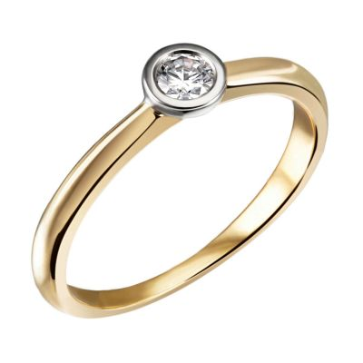 Stella Ring 585/- Gelbgold Bicolor 0,05/ 0,10/ 0,15 ct. VS/G