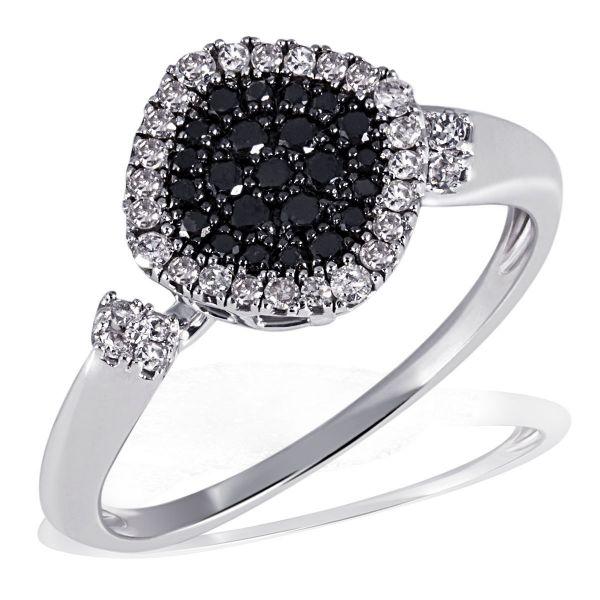 Damenring 585 Weißgold 32 weiße zus. 0,19 ct., 28 schwarze Diamanten zus. 0,22ct.