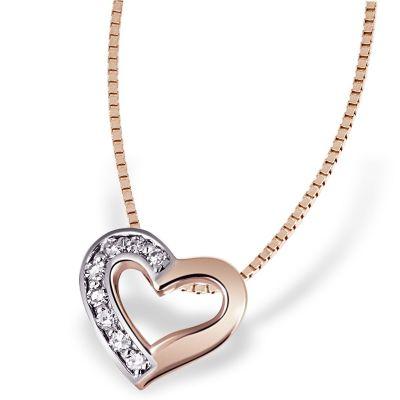 Collier Halskette Herz 375 Rotgold 8 Diamanten zus. 0,07 ct. SI1/H