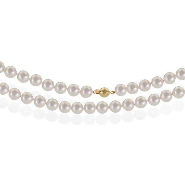 Collier Perlenkette 66 Süßwasserperlen 585 Gelbgold Collierverschluss