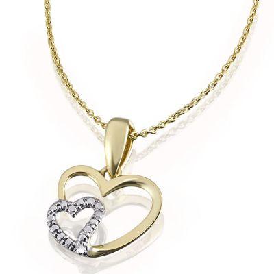 Collier Herzen Halskette Bicolor 375 Gelbgold 1 Diamant 0,01 ct. SI1/H