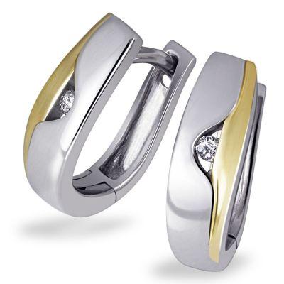 Paar Creolen Diamonds Bicolor 925 Sterlingsilber 2 Brillanten zus. 0,03 ct.