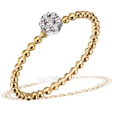 Damenring Verlobungsing 585 Gelbgold 7 Brillanten zus. 0,07 ct. SI1/H
