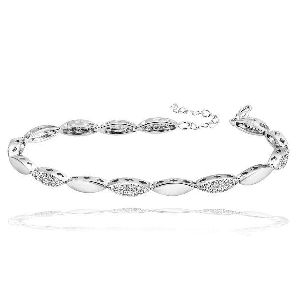 Armband 925 Sterlingsilber 184 weiße Zirkonia Karabinerverschluß Länge 21 cm
