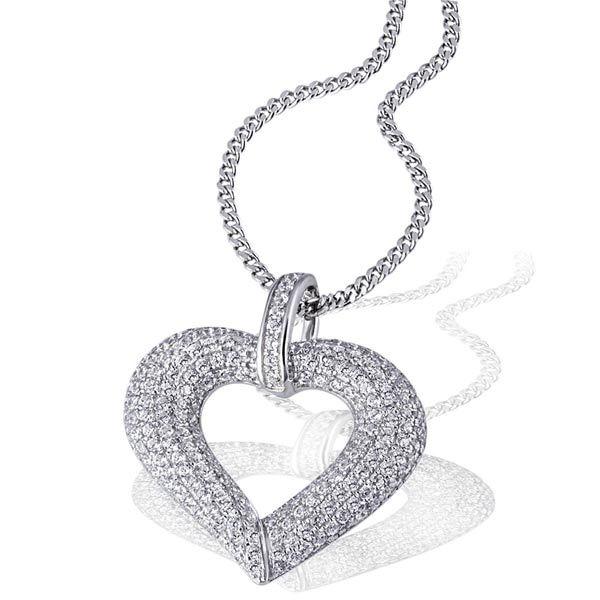 Collier Halskette Pavee Herz 925 Sterlingsilber 201 Zirkonia weiß