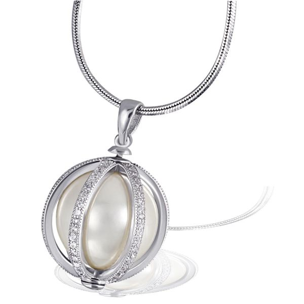 Collier Pearl Cage 925 Sterlingsilber 1 Perle und 114 weiße Zirkonia