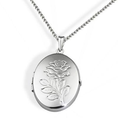 Collier Halskette 925 Sterlingsilber Medaillon Amulett Anhänger Rosen Prägung