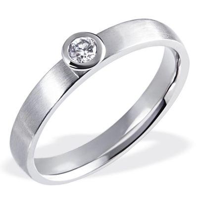 Damenring Verlobungsring 585 Weißgold 1 Brillant 0,10 ct. SI1/H