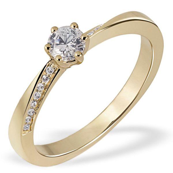 Damenring Twist 585 Gelbgold 17 Brillanten zus. 0,31 ct. Verlobungsring