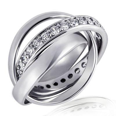 Damenring 925 Sterlingsilber 3-in-1 Ring 32 Steine Kanalfassung