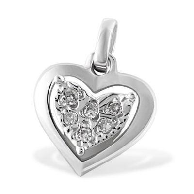 Anhänger Herz 585 Weißgold 6 Diamanten zus. 0,05 ct.