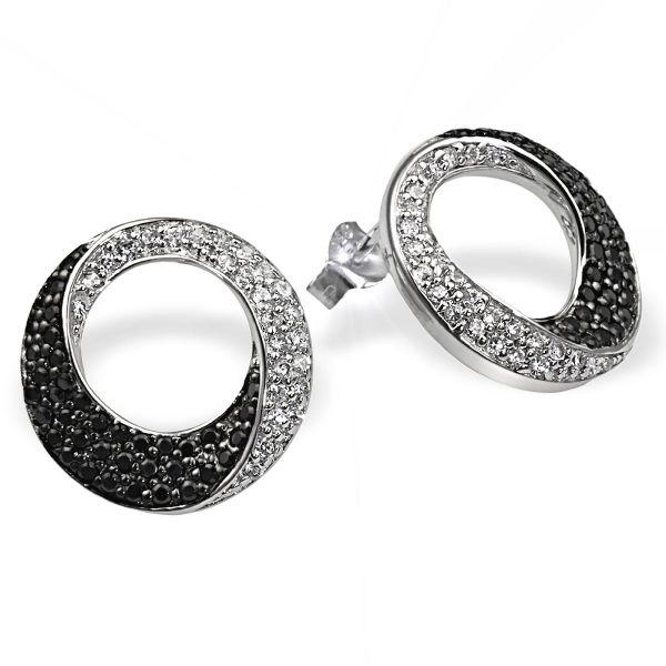Paar Ohrstecker gedrehte Form 925 Sterlingsilber 50 weiße 74 schwarze Zirkonia