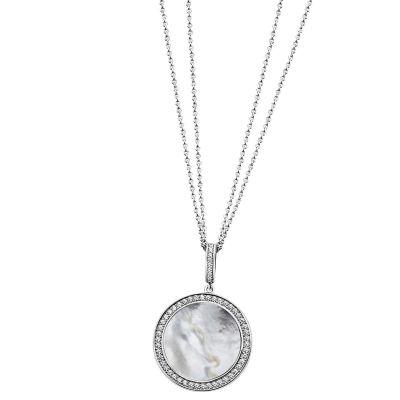 Collier 925 Sterlingsilber Perlmutt weiß, 55 Zirkonia Doppelanker Halskette