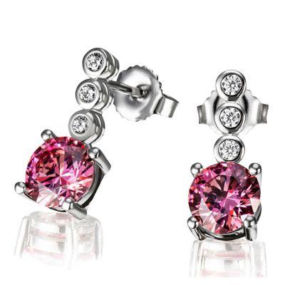 Paar Ohrstecker Fancy Pink 925 Sterlingsilber 6 weiße 1 pinker Zirkonia