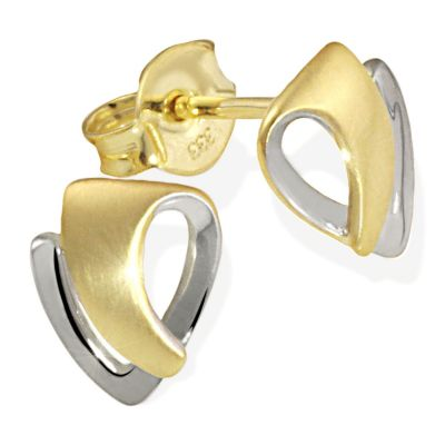 Paar Ohrstecker Bicolor 333 Gelbgold Ohrringe matt und hochglanzpoliert