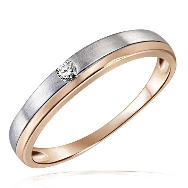 Damen Ring Bicolor Spanndesign Rose- und Weissgold 375 mit Brillant 0,05 ct.