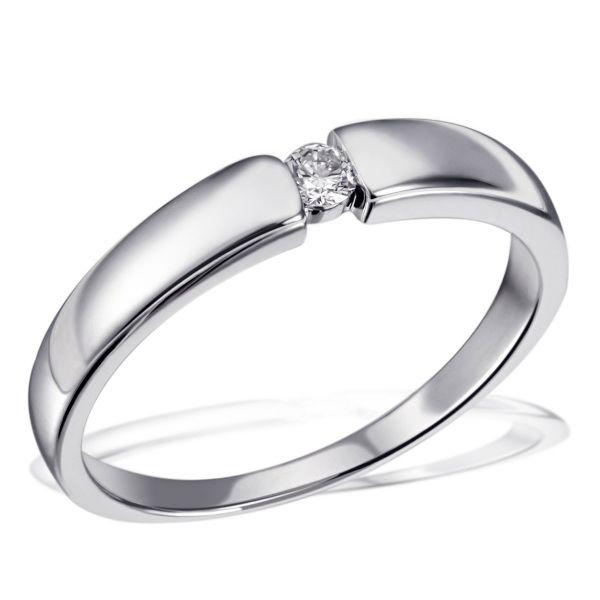 Damenring Verlobungsring Freundschaft 925 Sterlingsilber 1 Brillant 0,07 ct. SI1/H