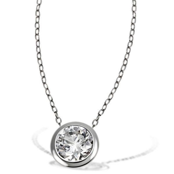 Collier Halskette 925 Sterlingsilber 1 weißer Zirkonia Ankerkette