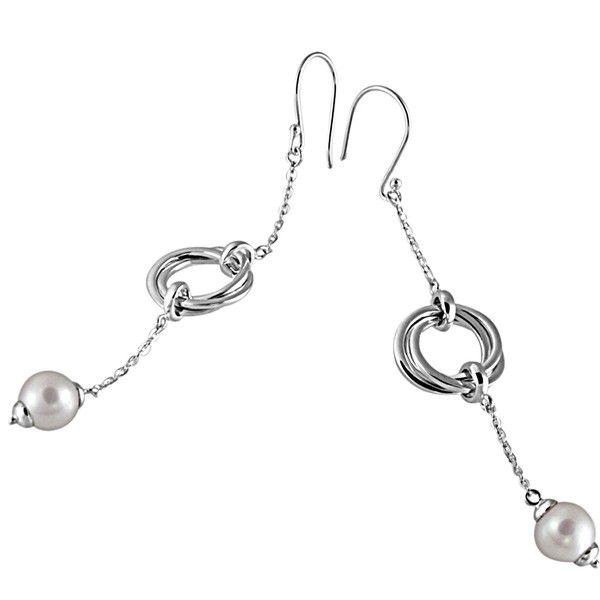 Paar Ohrhänger 925 Sterlingsilber 2 Perlen und Ringe