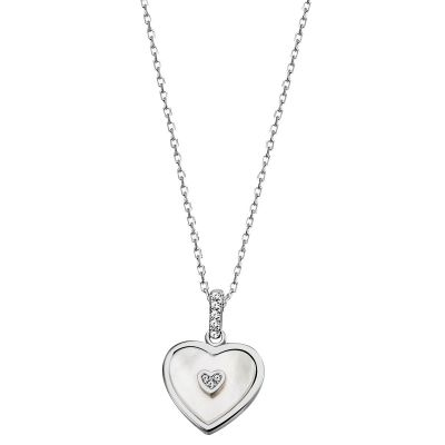 Collier Halskette 925 Sterlingsilber Herz Perlmutt 8 weiße Zirkonia Ankerkette