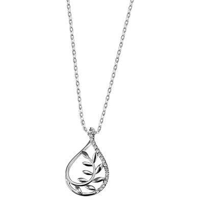 Collier Halskette Tropfen Blatt 925 Sterlingsilber Ankerkette 18 weiße Zirkonia