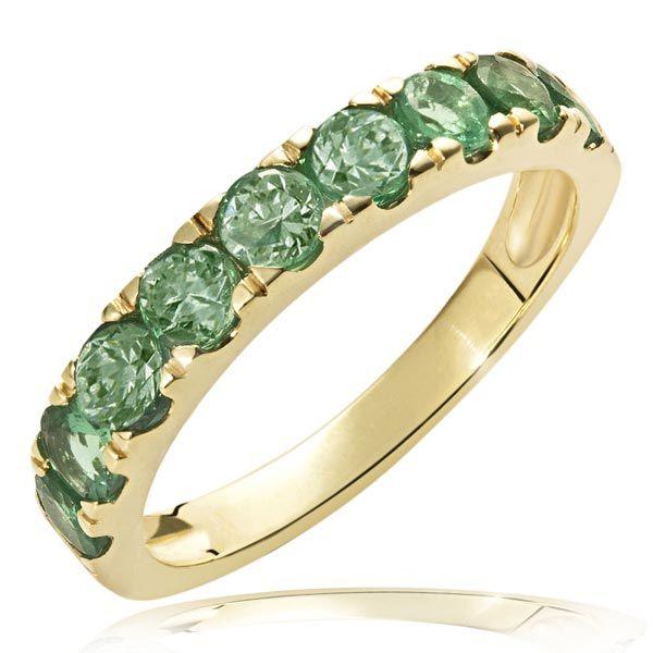 Damenring Memoire 375 Gelbgold 9 Smaragd Edelsteine zus. 1,53 ct. grün