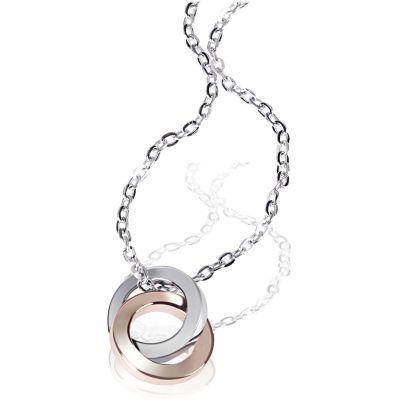 Collier Halskette Ringe Bicolor 375 Gold Ankerkette