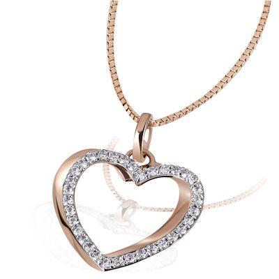 Collier Heart 585 Rotgold Venezianerkette 34 Diamanten zus. 0,23 ct.
