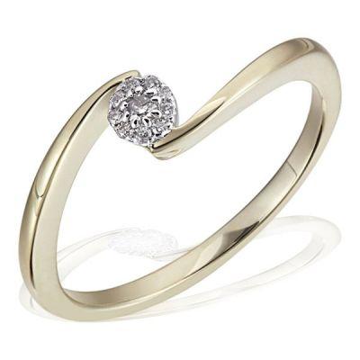 Damenring Verlobung 585 Gelbgold 10 Brillanten zus. 0,08 ct.