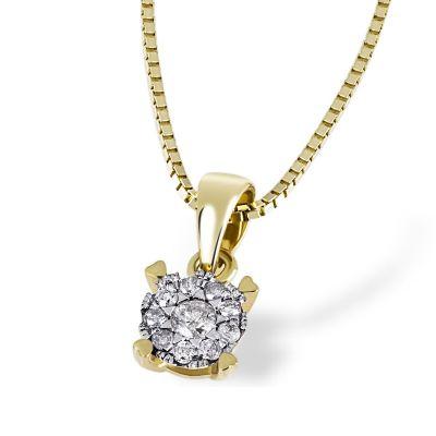 Collier Halskette Glamour 585 Gelbgold 10 Brillanten zus. 0,10 ct.