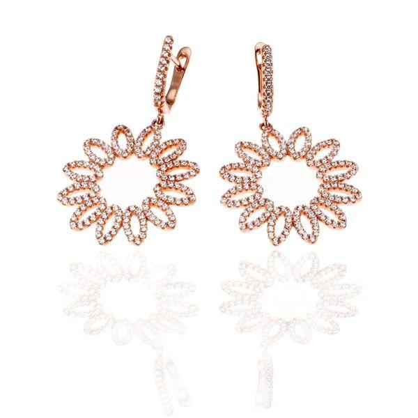 Paar Ohrhänger Blume 925 Sterlingsilber Ohrringe rotvergoldet 308 Zirkonia