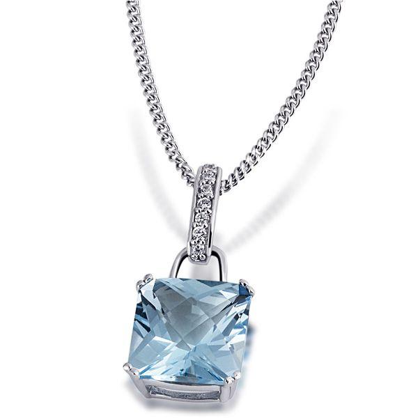 Collier Ocean 925 Sterlingsilber 1 blauer Topas im Schachbrettschliff 7 weiße Zirkonia