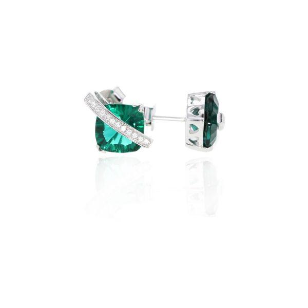 Paar Ohrringe Silber 925 Millenium-Cut Smaragd Grün Ohrstecker