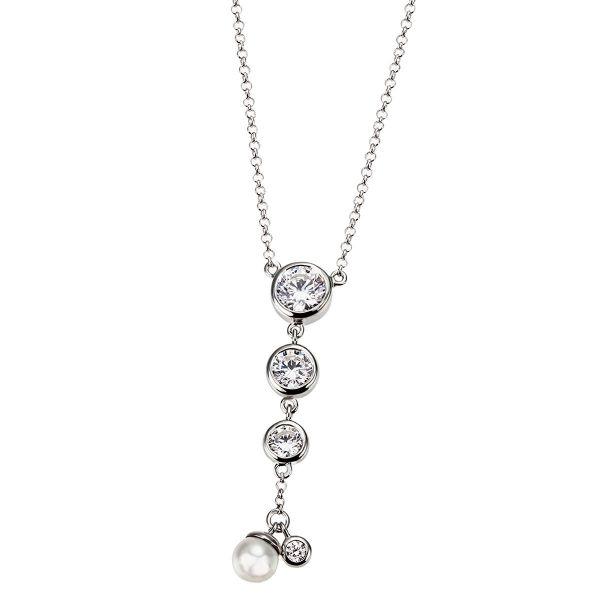 Collier Halskette 925 Sterlingsilber poliert 4 Zirkonia Zuchtperle Erbskette